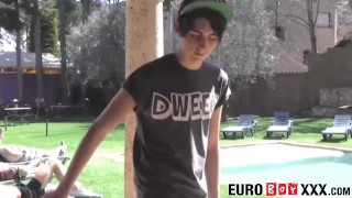 Outdoor anal fucking with skinny and young homosexuals Euro facial