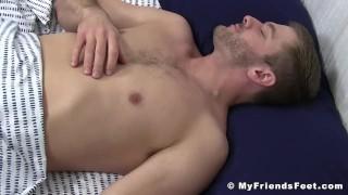 Cumming Sean Holmes wakes up during feet worship Anal fit