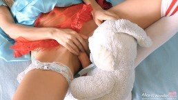 Tiny Teen miss Alice fucked by her Bunny toy - big Cock in tight pink Pussy