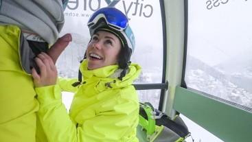 4K Public cumshot on mouth in ski lift Part 2