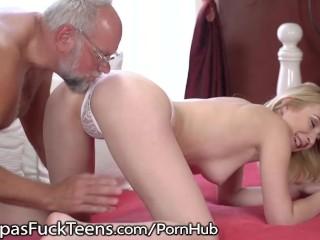 GrandpasFuckTeens Little Blonde Tastes Mature Cock