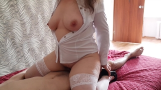 Stepmom came into the bedroom of her stepson. Attempt to fuck stepson.