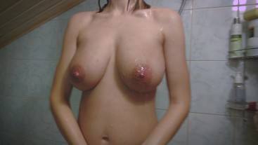 Perfect pregnant girl body in the shower