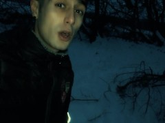 Middle eastern fat dick piss in the frozen lake