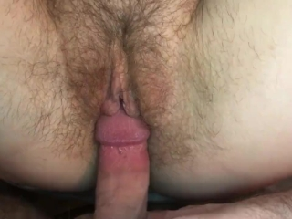 Creamy hairy pussy gets fucked and creampied