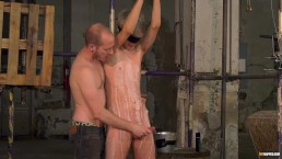 Blindfolded gay Sky Heet waxed and dungeon blowjob