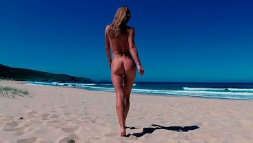 TRAVEL NUDE - Sasha Bikeyeva Undressed On The Public Beach Doniños in Spain