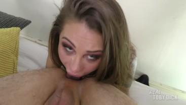 Slim submissive slut gets throatfucked and rims my asshole - massive cumsho