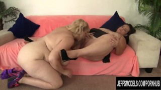 Fat Lesbians Amazon Darjeeling and Angelina Get Naughty with Tongue n Toys