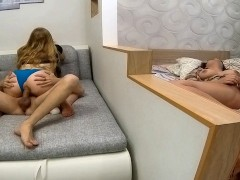 They think they're alone but I cum hard by watching them! Anal Creampie,Spy