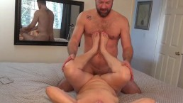 Cum in wife's mouth after fucking and toe sucking