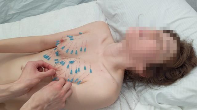 Nipple Piercings during her Orgasm - Needles, BDSM(緊縛), Masturbation, Nipples
