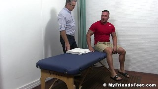 Bound muscular stud receives a tickling torment