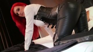 Screen Capture of Video Titled: POV Wank over Tight Leather Dominatrix Skintight Corset Roxi Keogh
