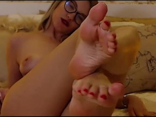 Sexy white girl foot tease - self toe suck