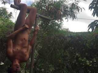 Jerking Off Upside Down and Cumming