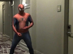 spiderman jerking off in hotel hall