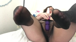 Hot BBW Wears Sheer Black Pantyhose and Cums with Vibrator Dirty Talk JOI