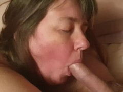 Chubby amateur housewife sucks cock and facial
