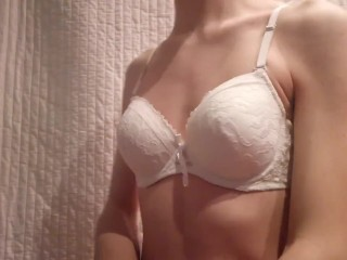 Wearing my mother bra crossdressing with bra and...