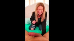 Serena Avery shy but she can't stop laughing in beginner Ballbusting POV