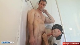 French Str8 dad neighbour serviced in a gay porn in spite of him