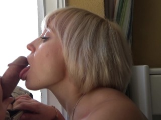 Sexy blonde sensually sucked cock to the hotel manager. He cum in mouth.
