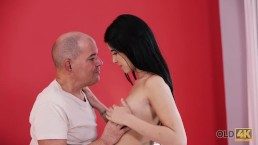 OLD4K. Pretty brunette dollface has passionate sex with older lover