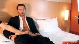 handsome str8 salesman serviced in spite of him for a gay porn
