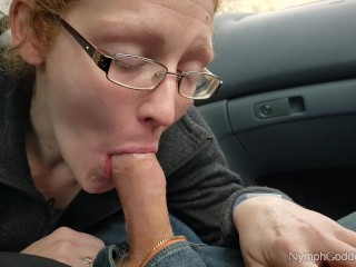 Redhead MILF Ivy sucks and swallows hubby's load in a parked car