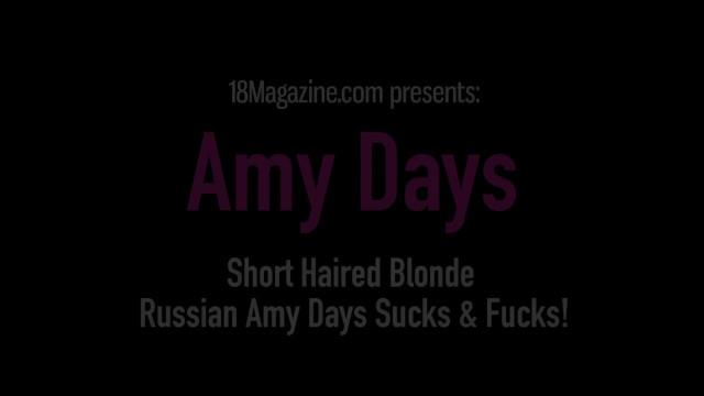 Short Haired Blonde Russian Amy Days Sucks & Fucks! 9