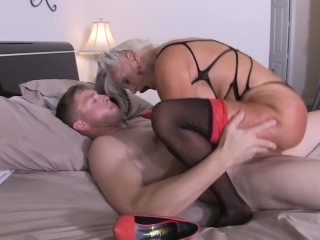 Young guy slams his 10 inch white cock and creampies #taboo