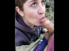 Hot wife blows me in the mountains then gets a heavy facial
