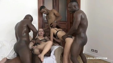 Two sluts get 2 cocks in the ass by 4 blacks