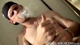 Smoking gay Nolan jerking off big cock and cumshot
