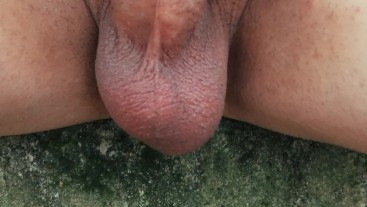 Teen balls outdoor in cold weather - close up balls and soft cock