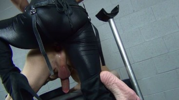 classic pegging - cameron dee is dominant in black leather