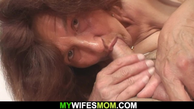 Very old mom in law rides her husband