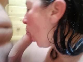 sloppy bath time blowjob fun POV