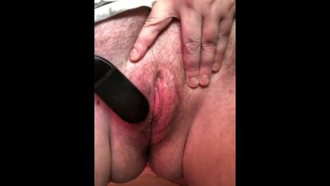 warming up my wet, au natural pussy with my whip, vibrator, and dildo !!