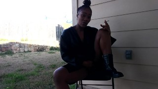 SweetButtTasty smoking and fingering herself in the backyard!!!!!