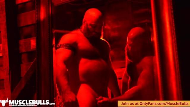 Gay men handjobs clips Muscle bulls dungeon play short clip