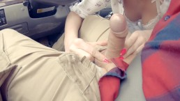 Spontaneous Deep Blow Job while Driving a Car and Cum Play 60FPS