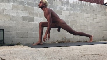 Hot Sexy Stud Does Naked Yoga Stretches in Public Yard