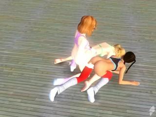 Cartoon lesbian threesome...