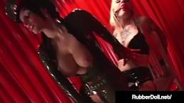 FemDom Latex Queen RubberDoll Fucks Blonde Slave!