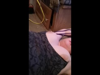 Hot amateur POV bondage, facial, and cum on face till she finishes