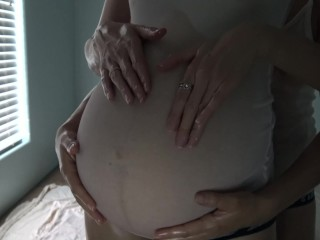 9 month pregnant lesbian oil massage two weeks...