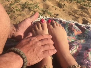 Hippie girl gets foot beach...