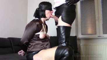 Bondage blowjob (Tied up, blowjob, wank and cum on my chest) SAMPLE